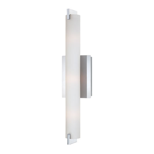 Eurofase Lighting Zuma Chrome Three Light Wall Sconce with Opal White Shade
