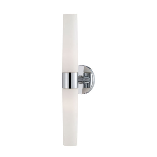 Vesper Chrome Two Light Wall Sconce with Opal White Shade