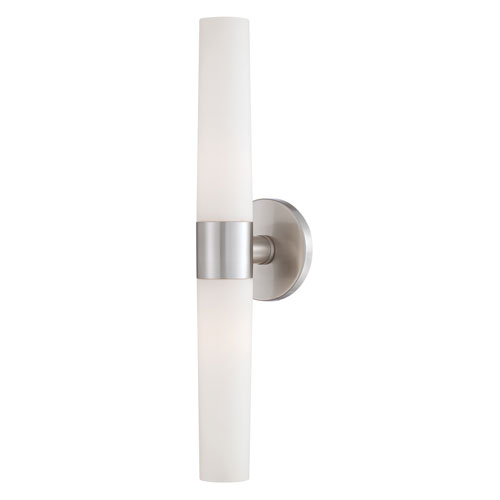 Vesper Brushed Nickel Two Light Wall Sconce with Opal White Shade