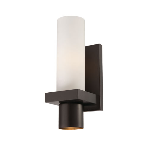 Pillar Oil Rubbed Bronze One Light Wall Sconce with Opal White Shade