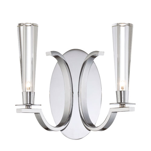 Eurofase Lighting Cromo Chrome Two Light Wall Sconce with Clear Glass Shade