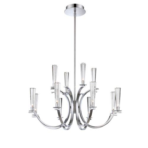 Eurofase Lighting Cromo Chrome 12 Light Chandelier with Clear Glass Shade