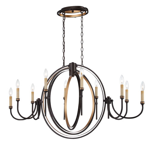 Eurofase Lighting Infinity Oil Rubbed Bronze 10 Light Oval Chandelier