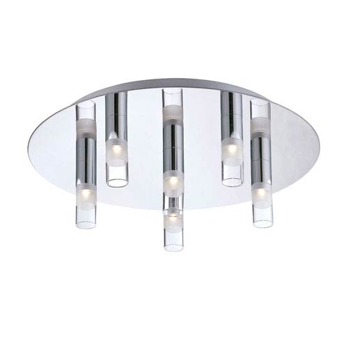 Eurofase Lighting Cube Chrome Six Light LED Flushmount with Clear Glass Shade