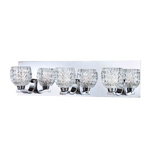 Eurofase Lighting Wave Chrome Three Light Bath Fixture with Clear Glass Shade