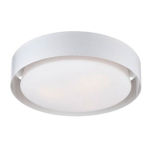 Saturn White Three Light Flushmount with Opal White Glass Shade