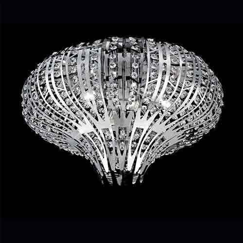Eurofase Lighting Monica Chrome Six-Light 19.5-Inch Wide Flush Mount with Clear Crystal