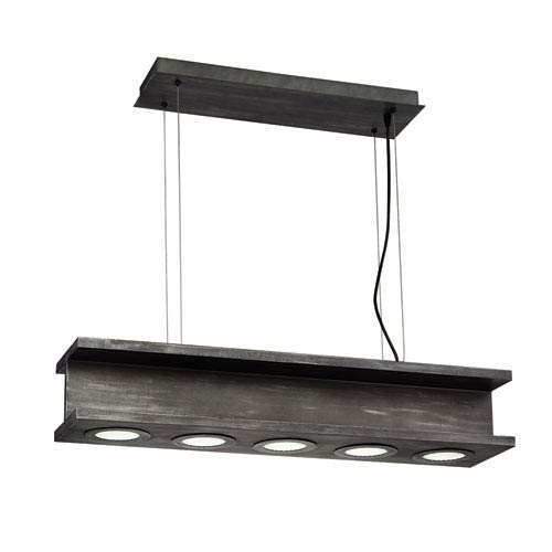 Fascio Rustic Black LED Five-Light Pendant