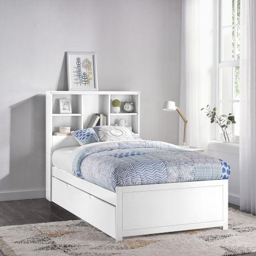 Caspian White Twin Bookcase Bed