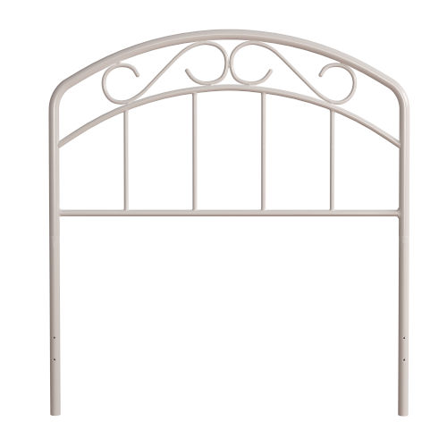Jolie White 39-Inch Metal Twin Headboard with Arched Scroll Design