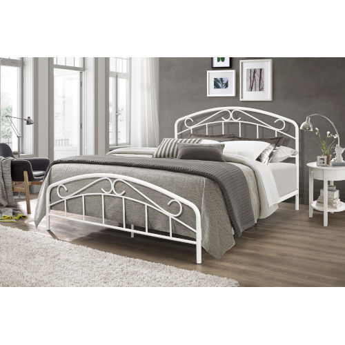 Jolie Textured White Metal Bed