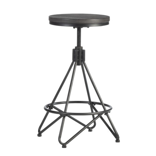Stella Gray 30-Inch Backless Metal Swivel Adjustable Stool with Round Wood Seat