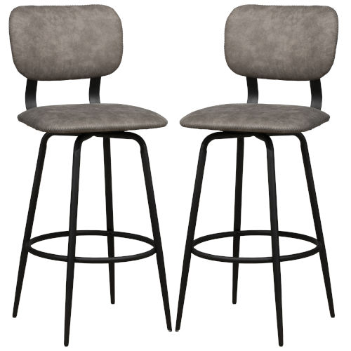 Bloomfield Matte Black 42-Inch Metal Upholstered Seat and Back Swivel Bar Height Stool, Set of 2