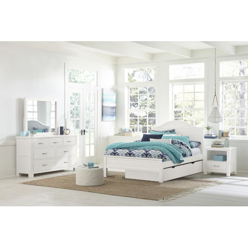 Highlands White Twin Arch Bed With Trundle