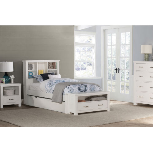 Highlands White Twin Bookcase Bed With Trundle