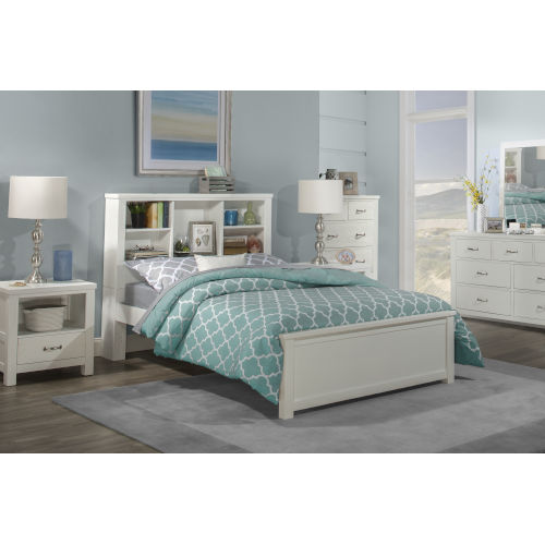 Highlands White Full Bookcase Bed