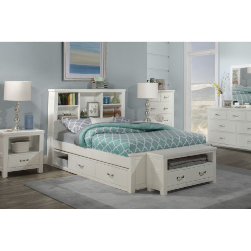 Highlands White Full Bookcase Bed With Storage Unit