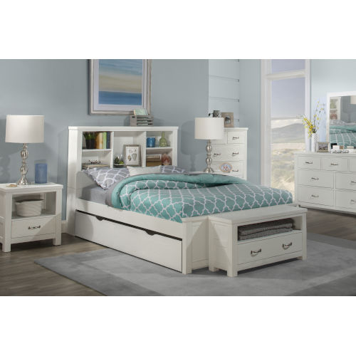 Highlands White Full Bookcase Bed With Trundle