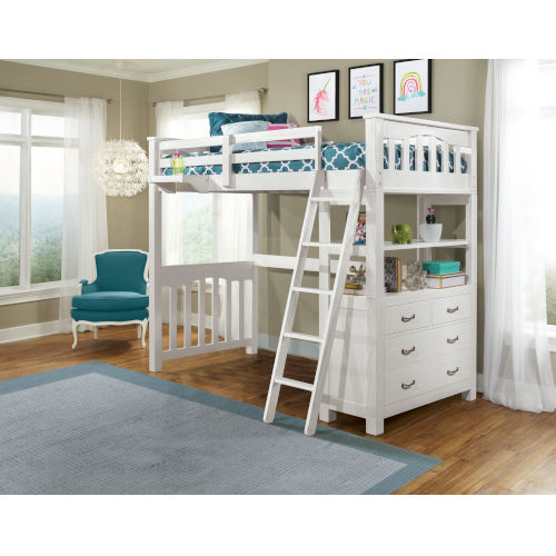Highlands White Twin Loft Bed With Desk And Hanging Nightstand