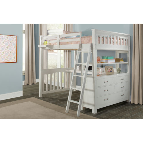 Highlands White Full Loft Bed With Desk And Hanging Nightstand