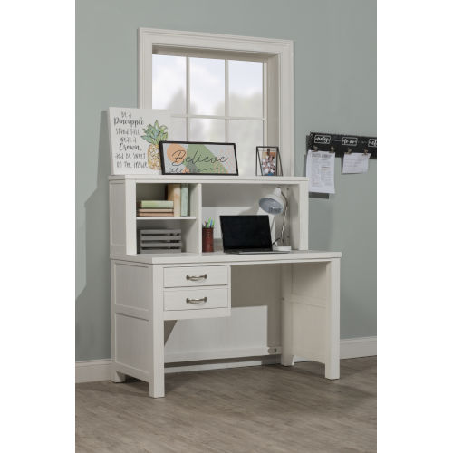 Highlands White Desk With Hutch