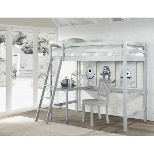 Caspian Gray Twin Study Loft With Chair