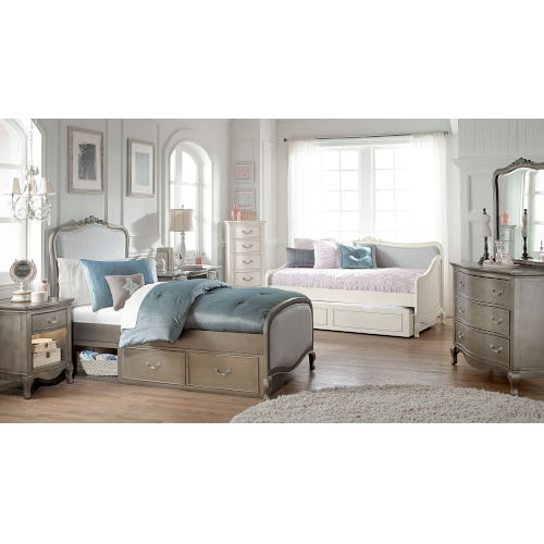 Kensington Antique Silver Twin Upholstered Panel Bed With Storage