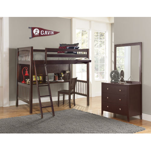 Pulse Cherry Twin Loft Bed With Chair And Hanging Nightstand