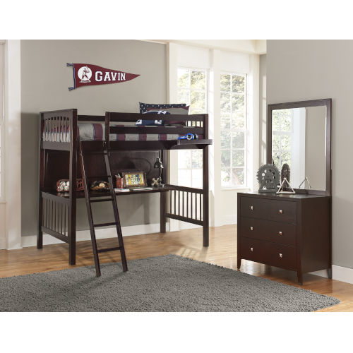 Pulse Chocolate Twin Loft Bed With Hanging Nightstand