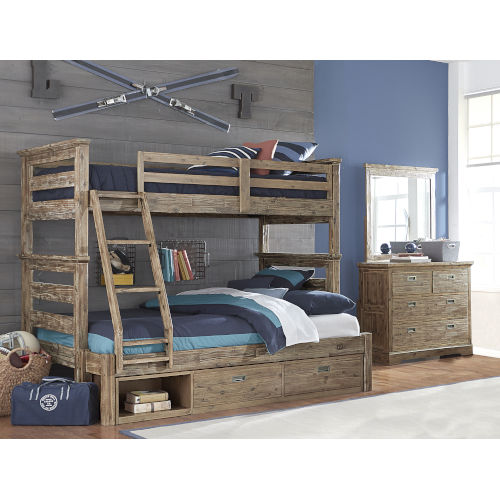 Oxford Cocoa Twin Over Full Bunk Bed With Storage