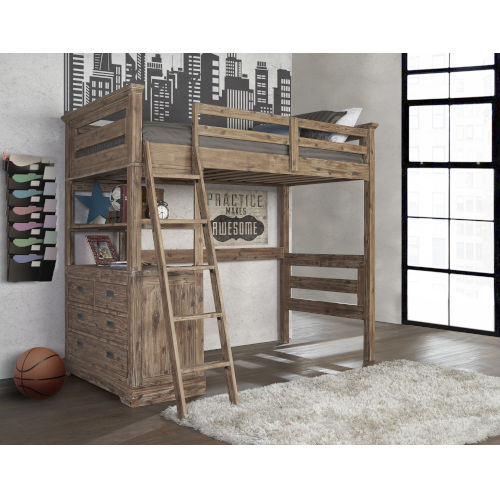 Oxford Cocoa Twin Loft With 4 Drawer Chest End