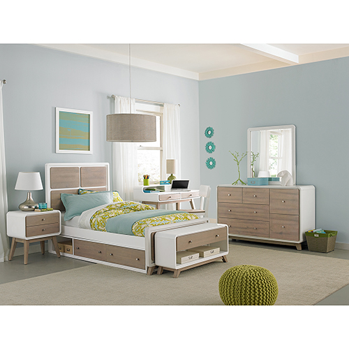 NE Kids East End Taupe and White Panel Twin Bed with Storage