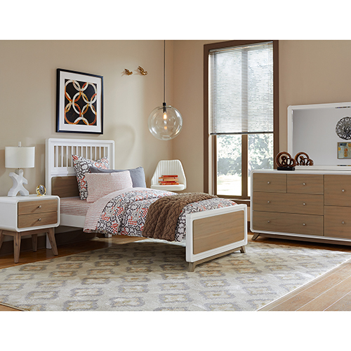 Ease End Taupe and White Spindle Twin Bed