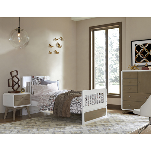 NE Kids East End Taupe and White Twin Jet Bed