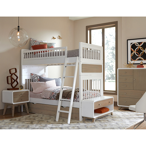 East End Taupe and White Twin Over Twin Jet Bunk with Trundle
