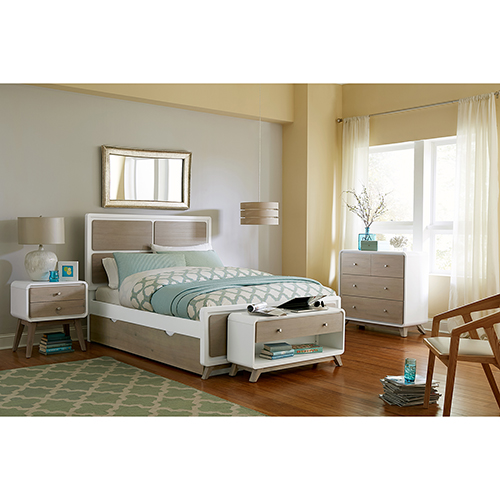 NE Kids East End Taupe and White Panel Full Bed with Trundle