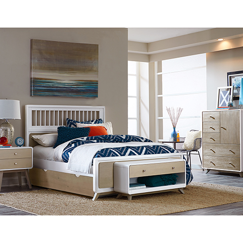 East End Taupe and White Spindle Full Bed with Trundle