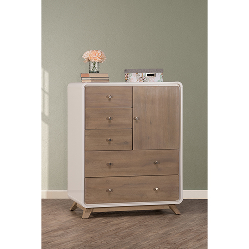 Ne Kids East End Taupe And White 5 Drawer Chest