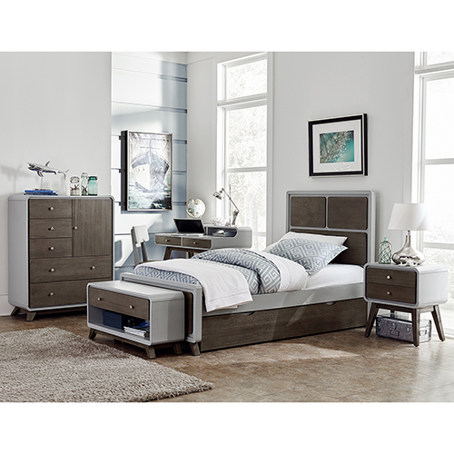 NE Kids East End Gray Panel Twin Bed with Storage