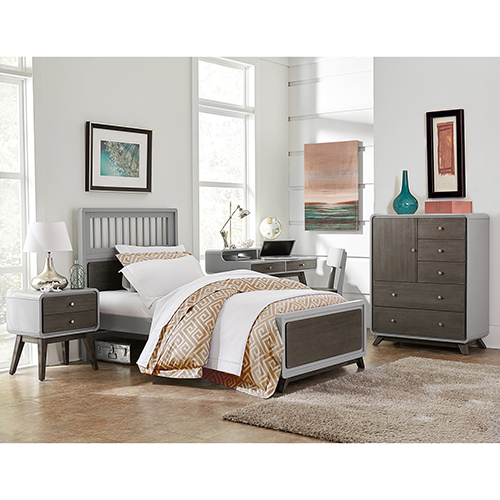 NE Kids East End Gray Spindle Twin Bed