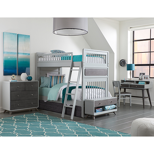 NE Kids East End Gray Twin Over Twin Jet Bunk with Trundle