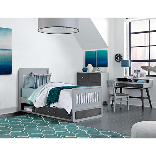 NE Kids East End Gray Twin Jet Bed with Storage