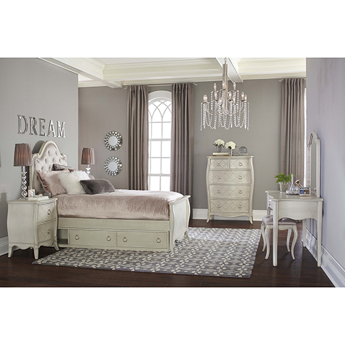Angela Twin Arc Upholstered Bed With Storage Unit