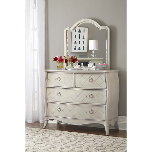 Angela 4 Drawer Chest with Wood Arc Mirror