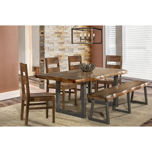 Emerson 6 Piece Rectangle Dining Set With One Bench And Four Wood Chairs    Natural