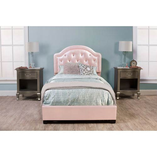 Karley Bed Set - Full - Rails Included - Pink Faux Leather