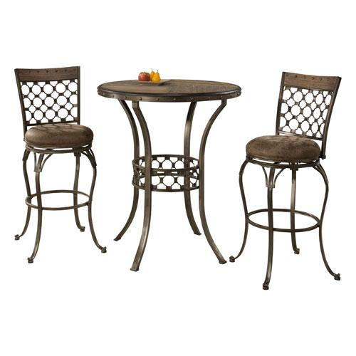Hillsdale Furniture Lannis 3 Piece Bar Height Bistro Dining Set