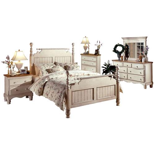 Wilshire Antique White King Five-Piece Post Bedroom Set