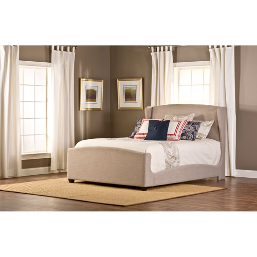 Barrington Queen Bed Set and Rail with Khaki Linen Fabric