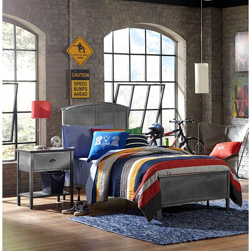 Urban Quarters Black Steel Panel Full Complete Bed With Rails